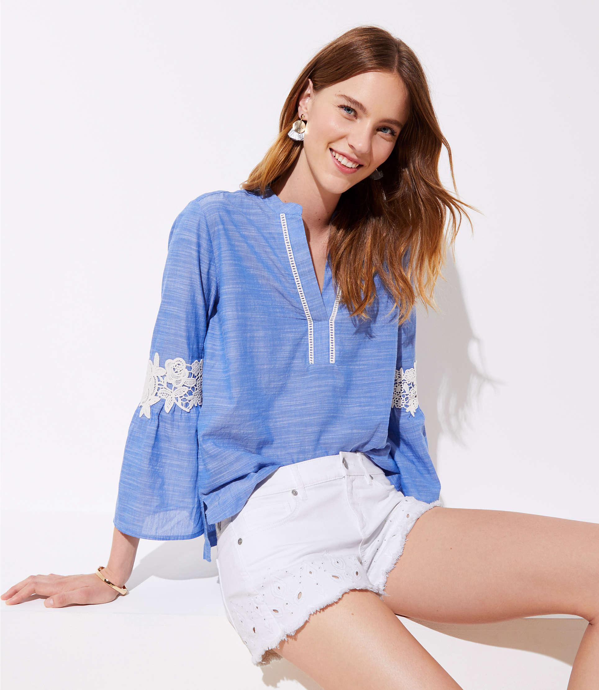 acd0173bc7ac1 Loft Petite Crochet Chambray Bell Sleeve Top in Blue - Lyst