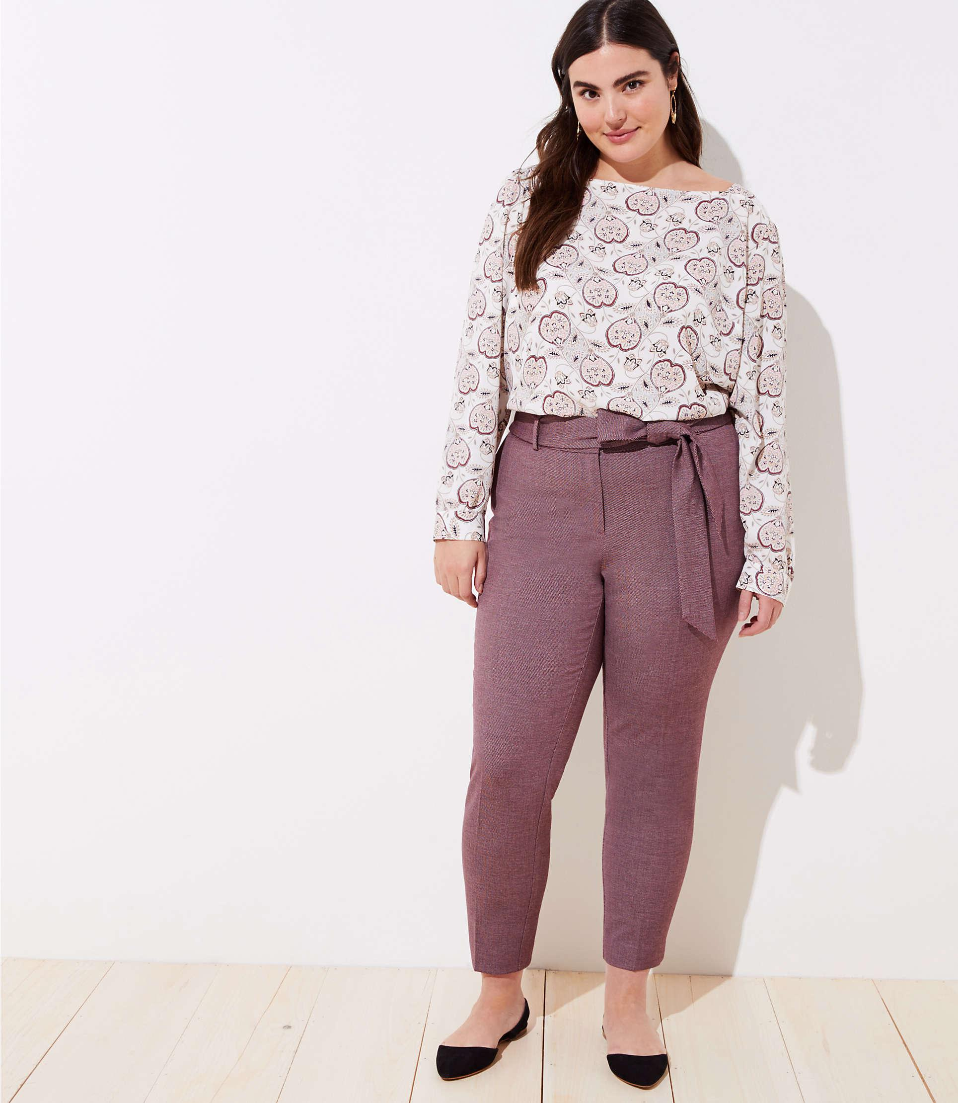 a766925cee LOFT. Women's Purple Plus Slim Tie Waist Pencil Trousers