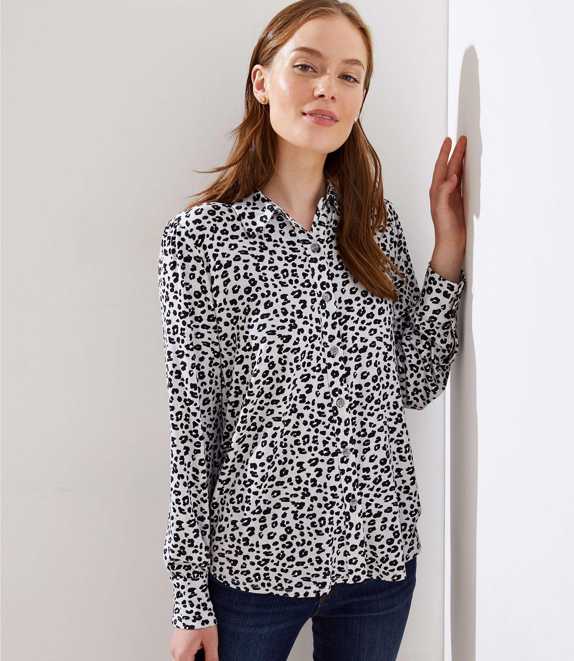 342605716224e Lyst - LOFT Leopard Print Knit Blouse in White