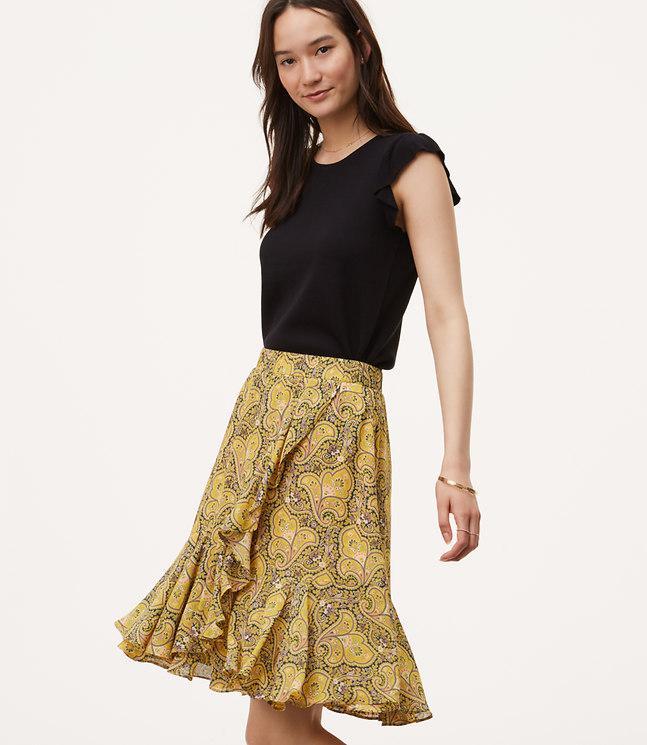 d7b11ea33b LOFT Sun Garden Flounce Skirt - Lyst