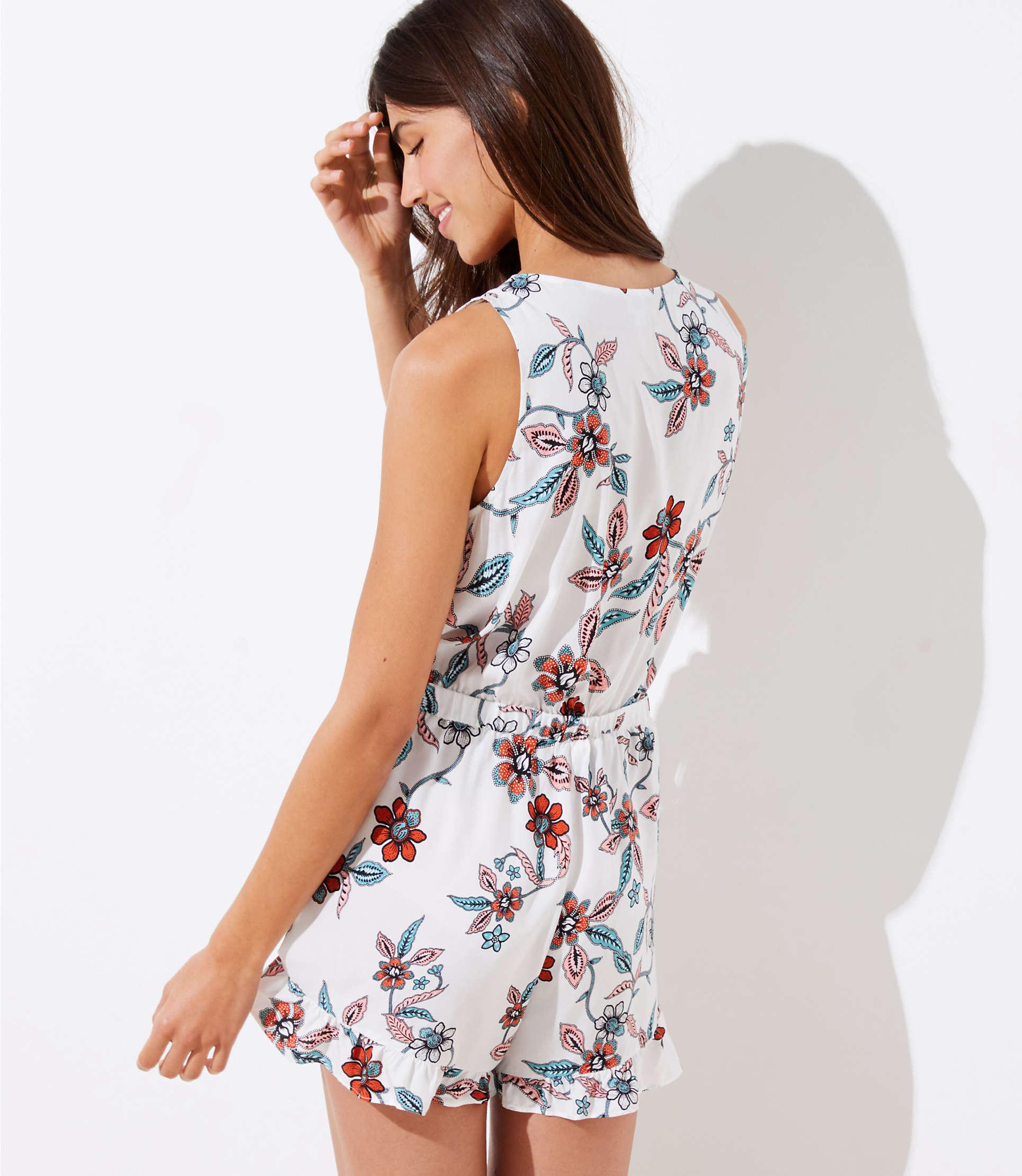 ddb0c81473a Lyst - LOFT Beach Floral Tie Front Romper in White