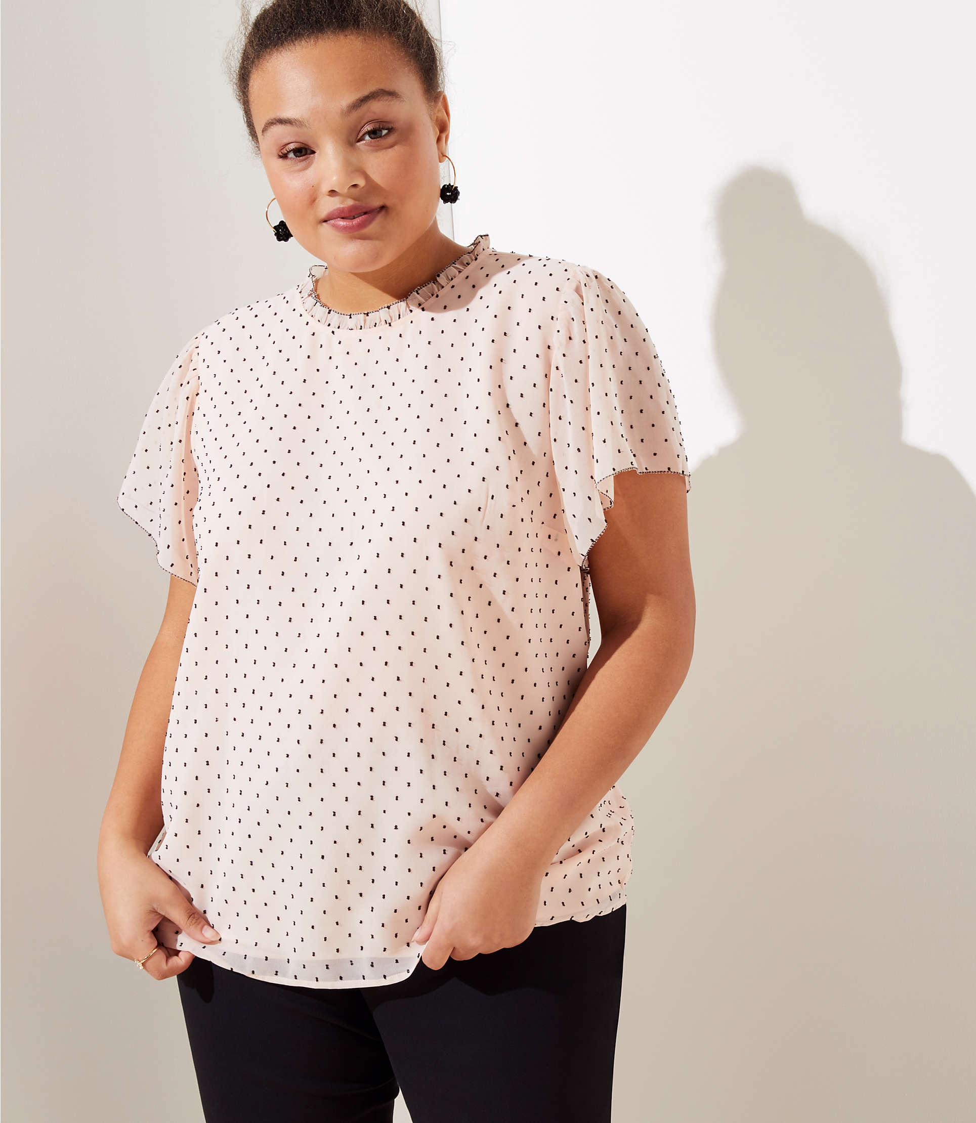 532827a02c62ed Lyst - LOFT Plus Dotted Ruffle Flutter Top in Pink