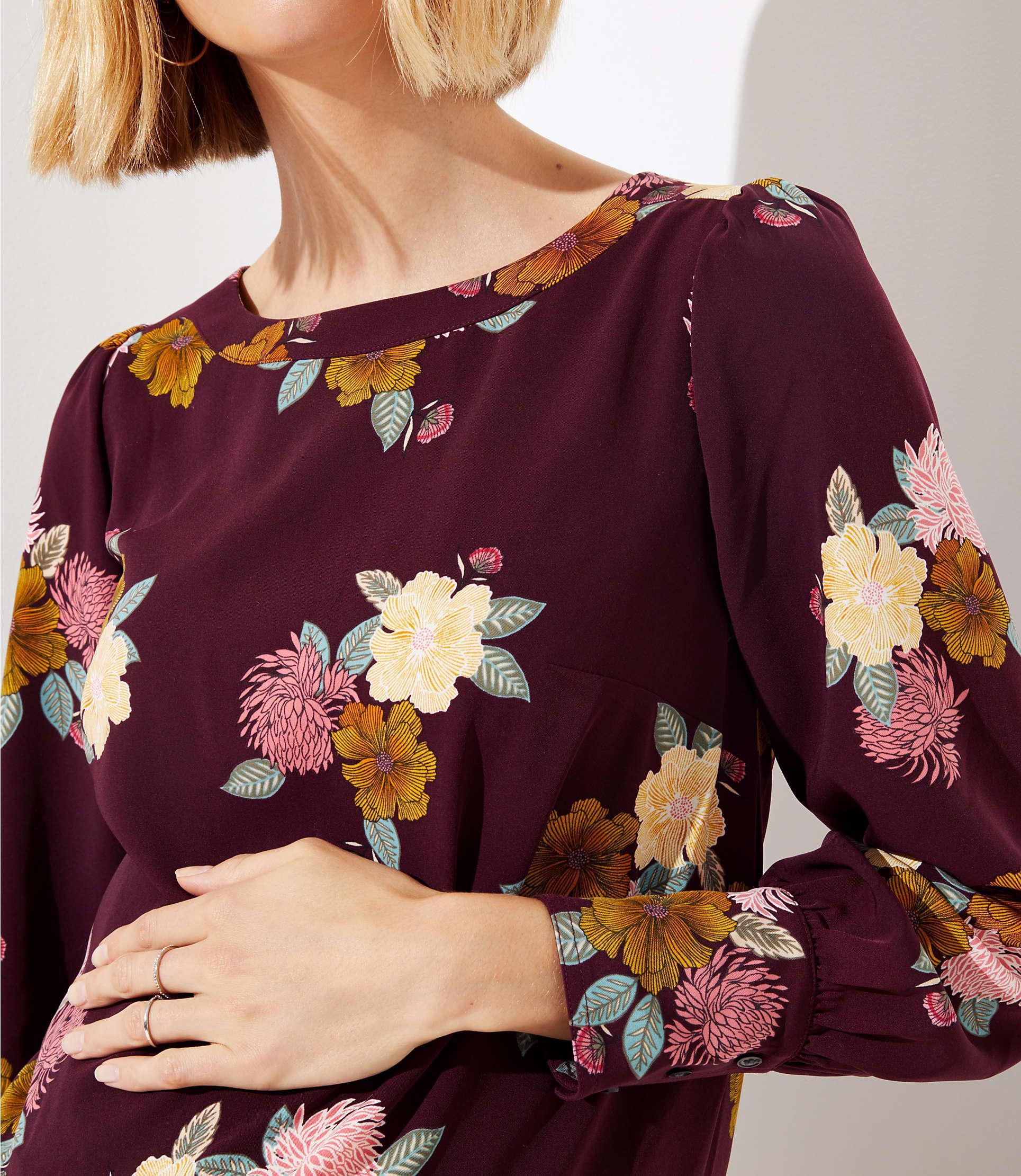 cec6afcf11d LOFT - Purple Maternity Floral Cuffed Shift Dress - Lyst. View fullscreen