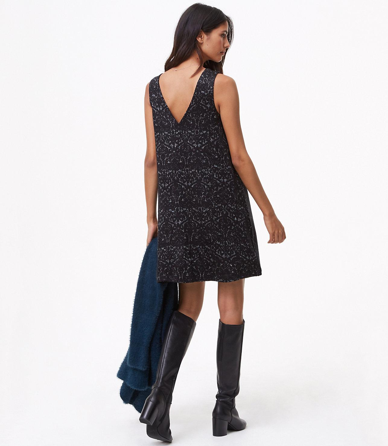 0be5aff6a56 Lyst - LOFT Petite Shimmer Paisley Swing Dress in Black