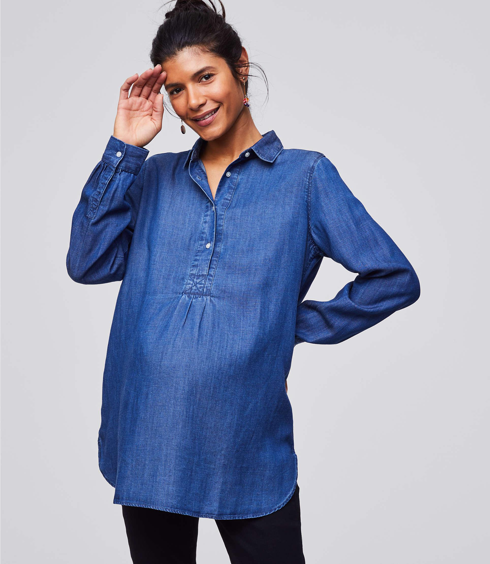 299ff3bc3515e LOFT Maternity Chambray Henley Tunic Softened Shirt in Blue - Lyst