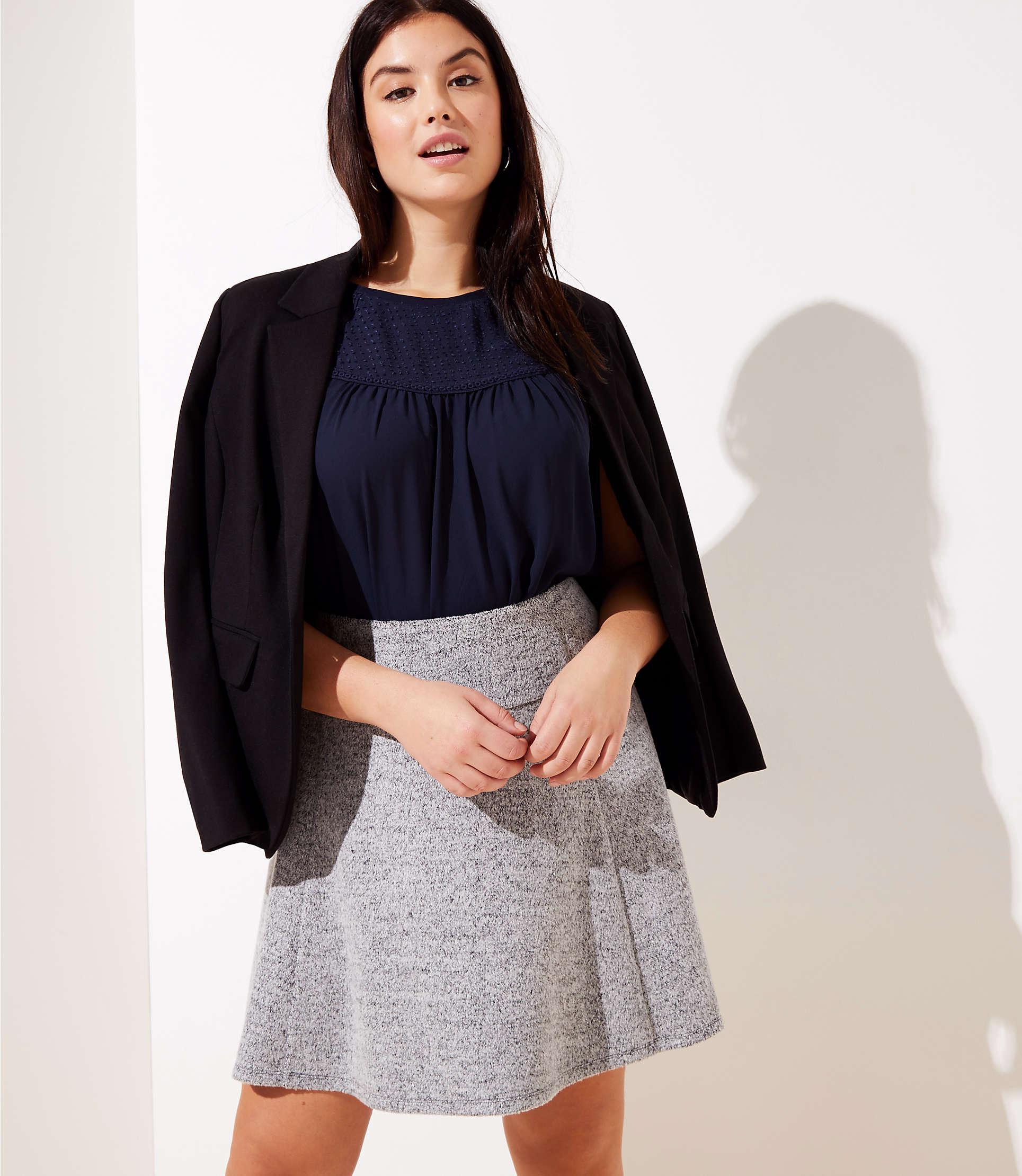 c1c680037 Loft Plus Pull On Flippy Skirt in Black - Lyst