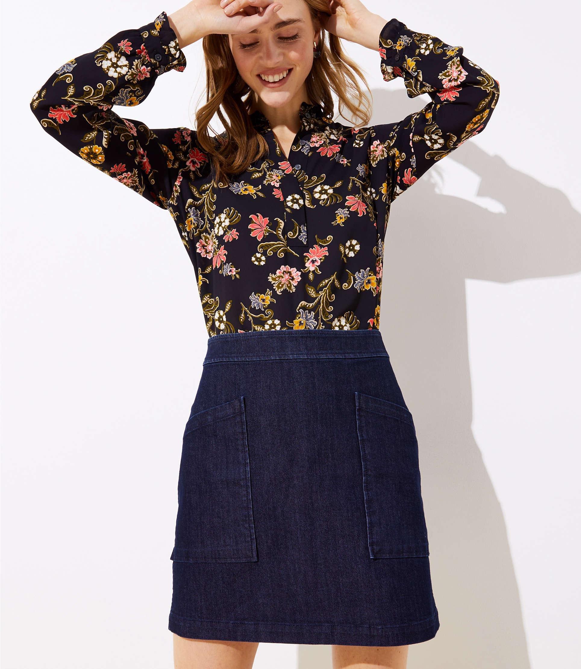 fcce2b63b Lyst - LOFT Denim Pocket Shift Skirt in Blue