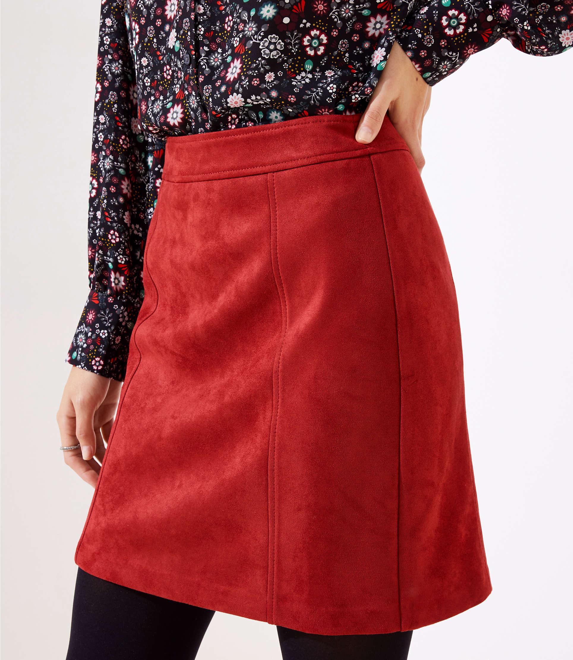 f45ad1b1a LOFT - Red Petite Faux Suede Shift Skirt - Lyst. View fullscreen