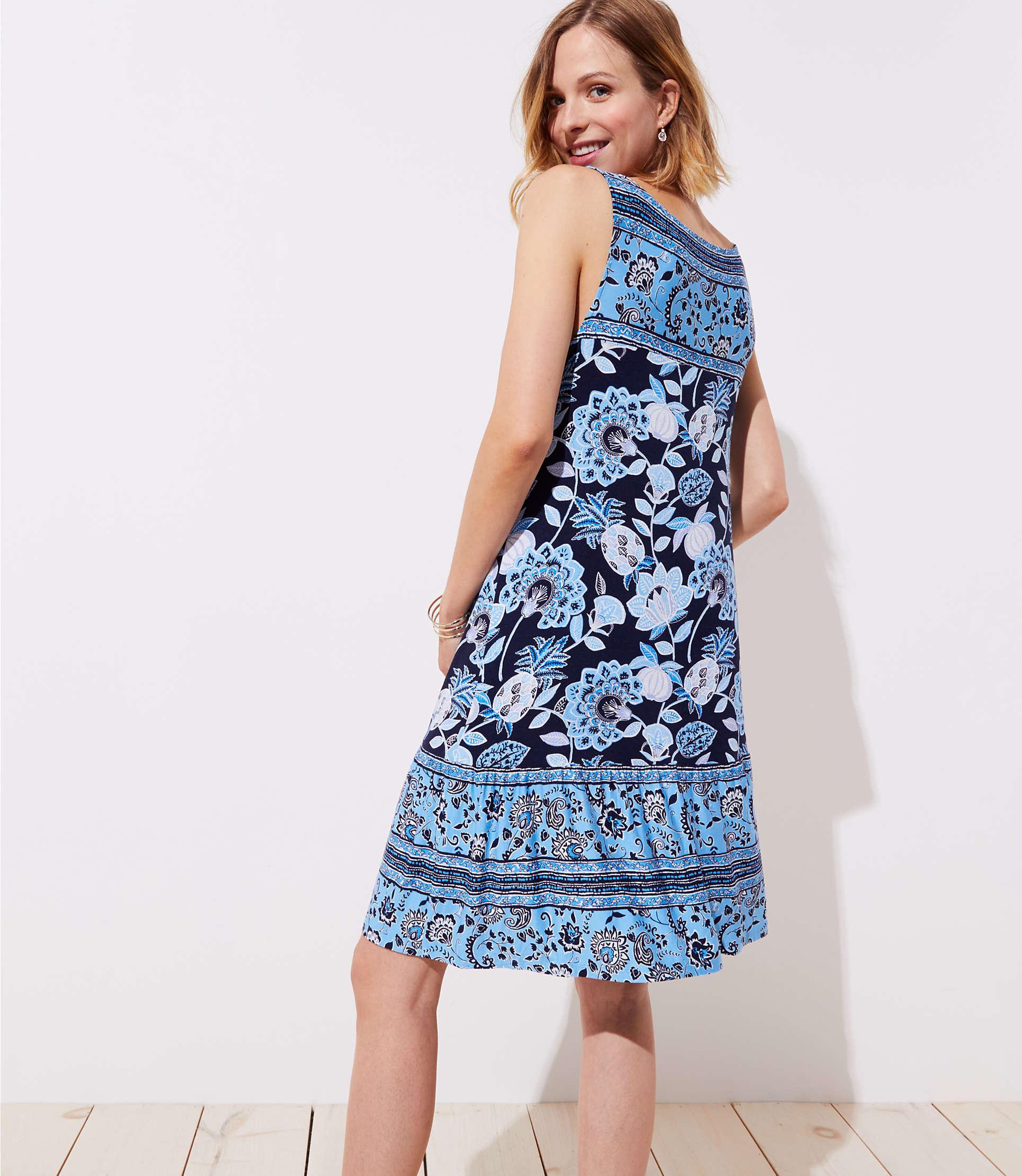 dcb33d1d03 LOFT Maternity Pineapple Dream Ruffle Sleeveless Swing Dress in Blue ...