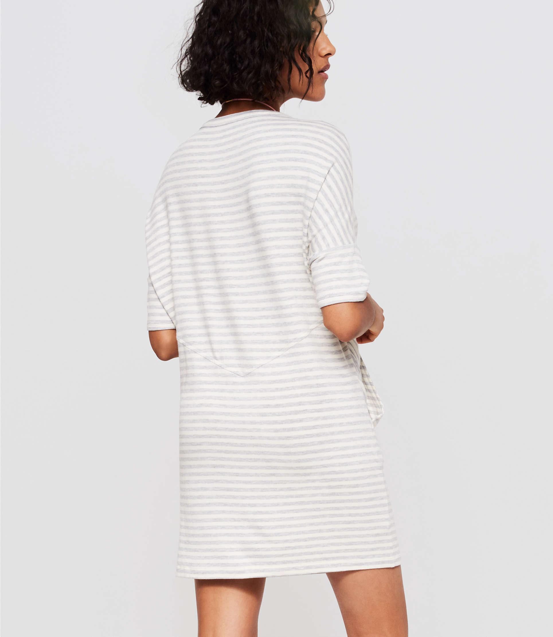 5ef70d53cbf Lyst - Loft Lou   Grey Striped Signaturesoft Dropshoulder Dress in Gray