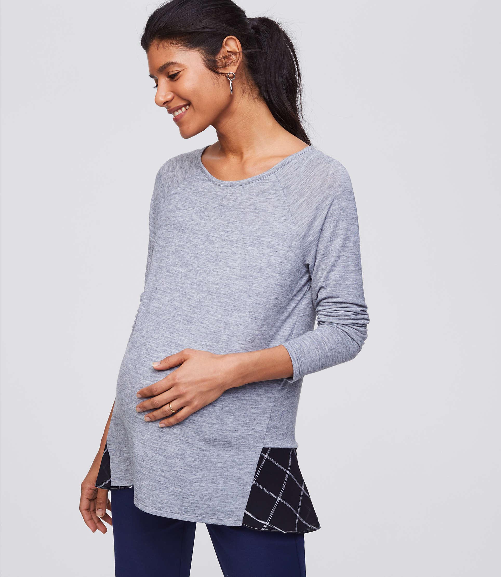 e315abebfa932 LOFT Maternity Plaid Flounce Mixed Media Top in Gray - Lyst