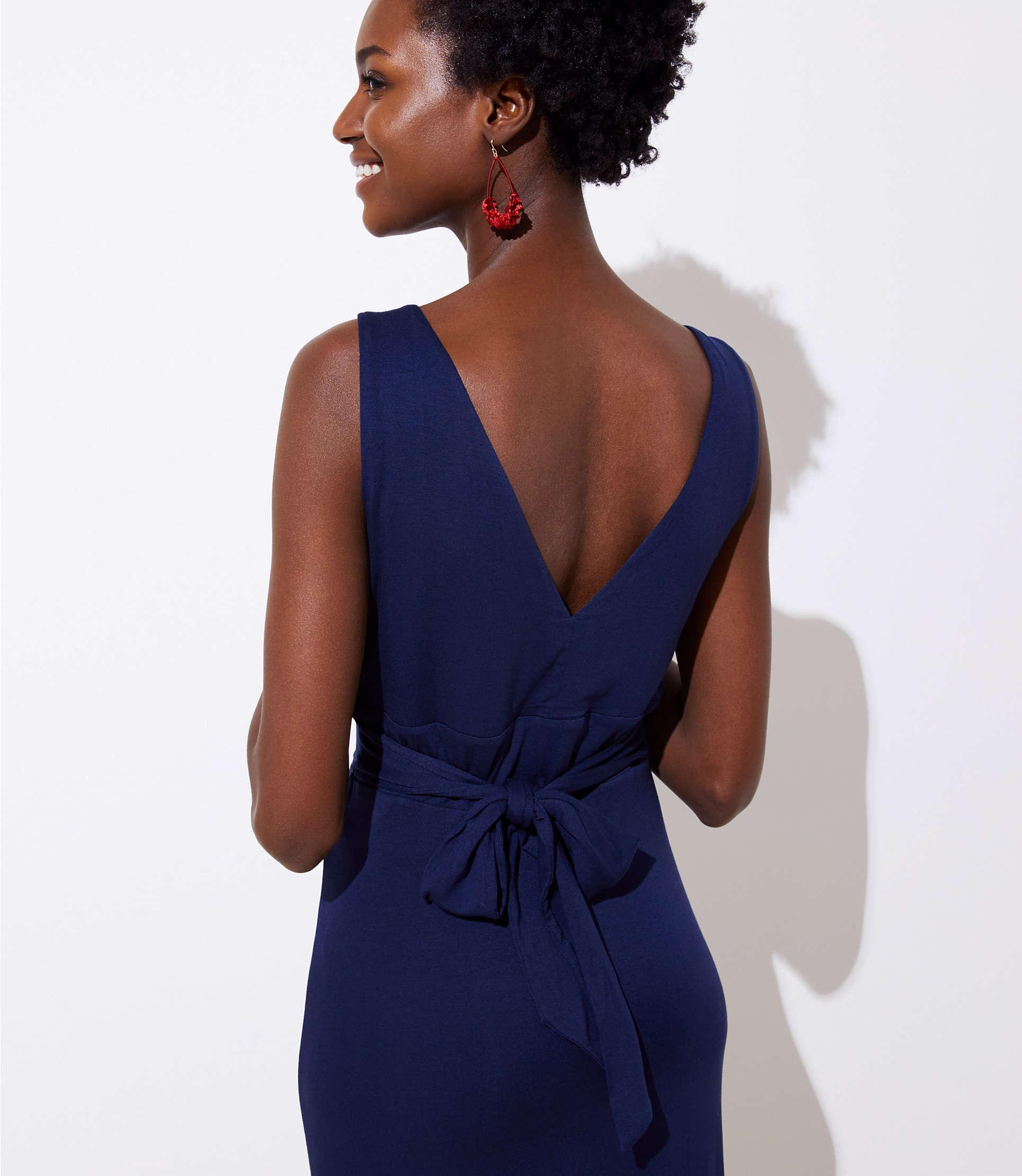 c0221480af7 Lyst - LOFT Petite Tie Waist Maxi Dress in Blue