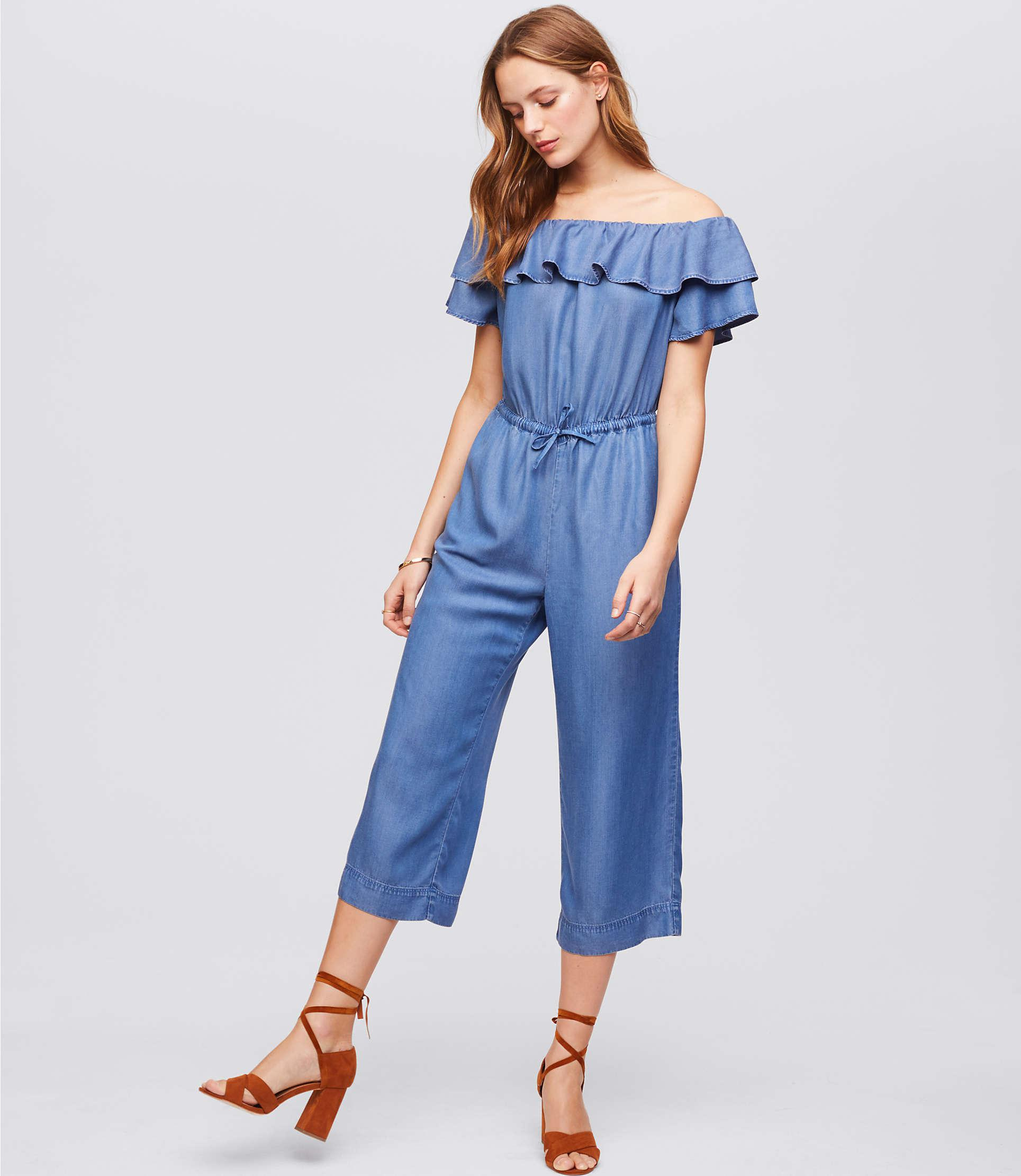 cddf4b95d3c2 Lyst - LOFT Petite Off The Shoulder Chambray Jumpsuit in Blue