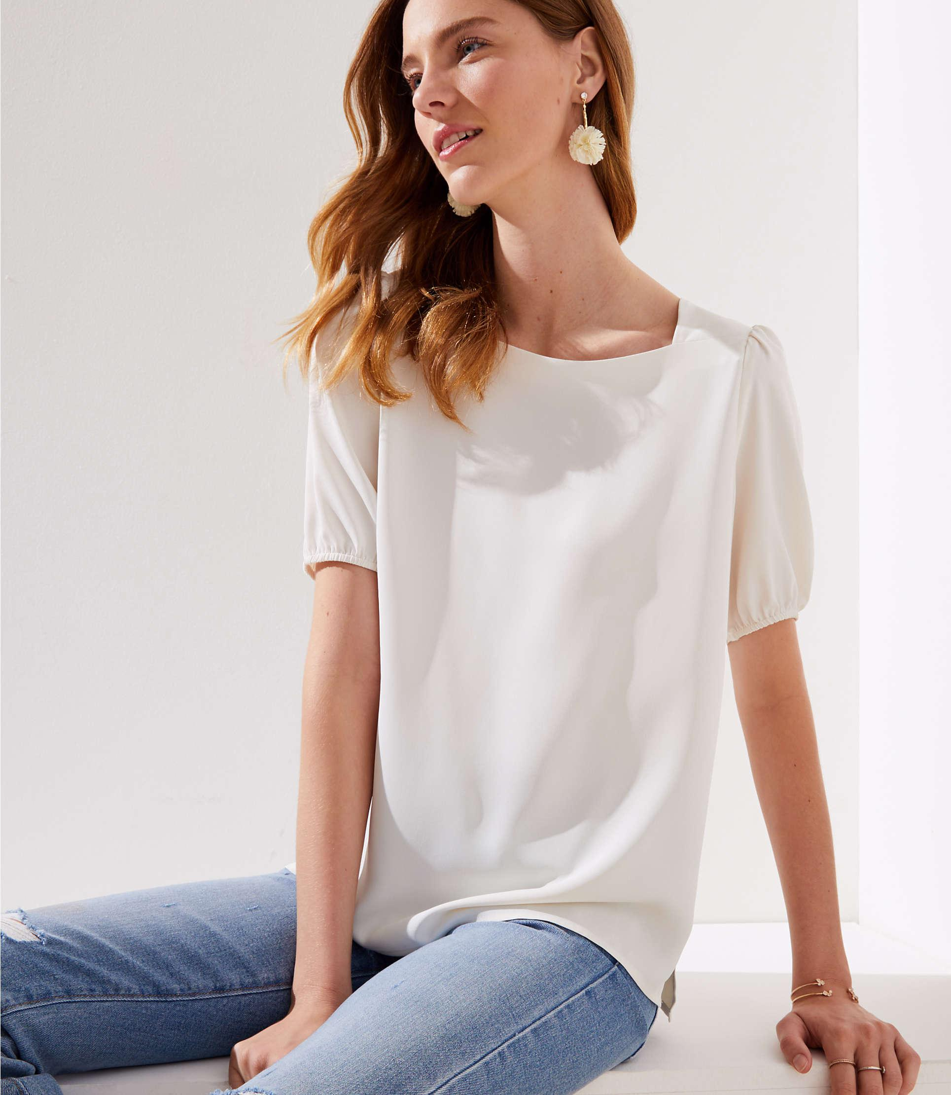 a91abe98683c42 LOFT Square Neck Blouse in White - Lyst