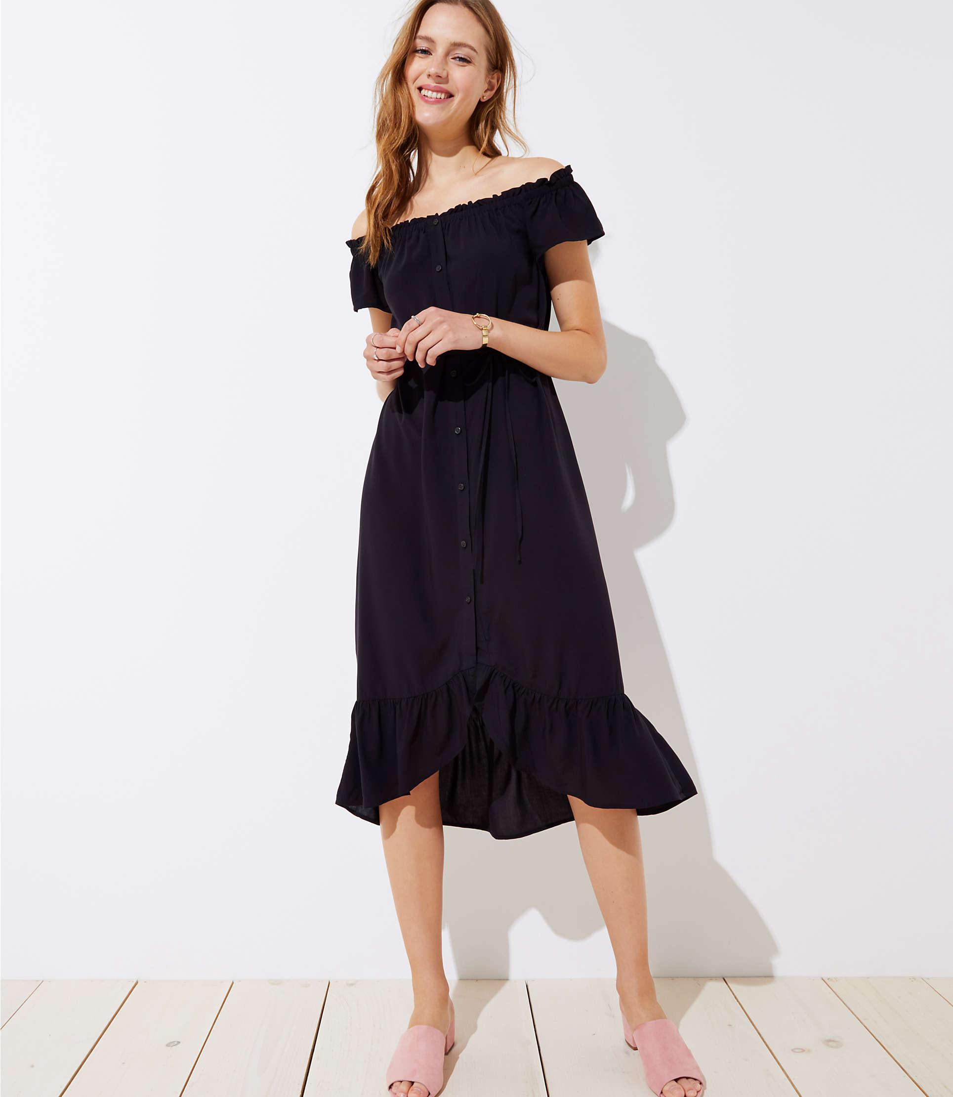 5f599214e4f5 LOFT Petite Off The Shoulder Button Down Midi Dress in Black - Lyst