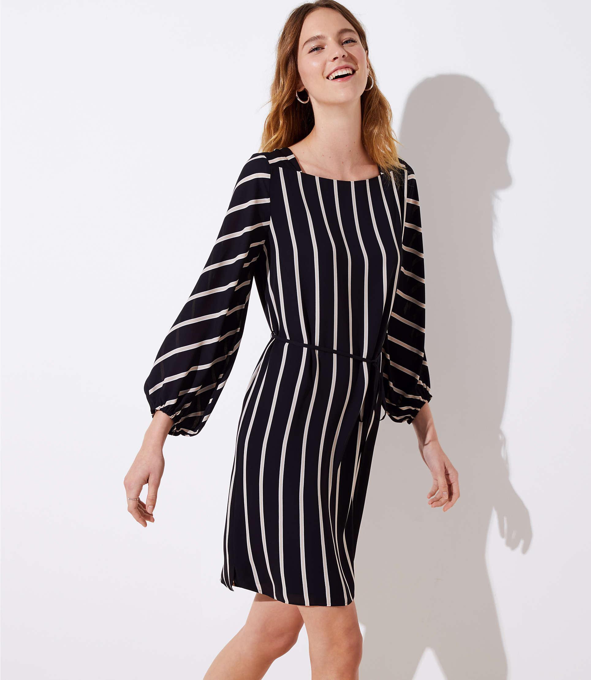 fa87948feb0 LOFT Striped Square Neck Tie Waist Dress in Black - Lyst