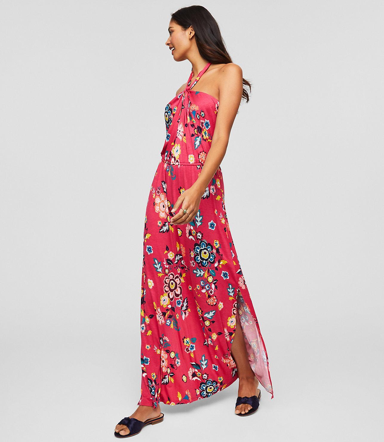 0dc896a9969 LOFT Beach Floral Twist Halter Maxi Dress in Pink - Lyst