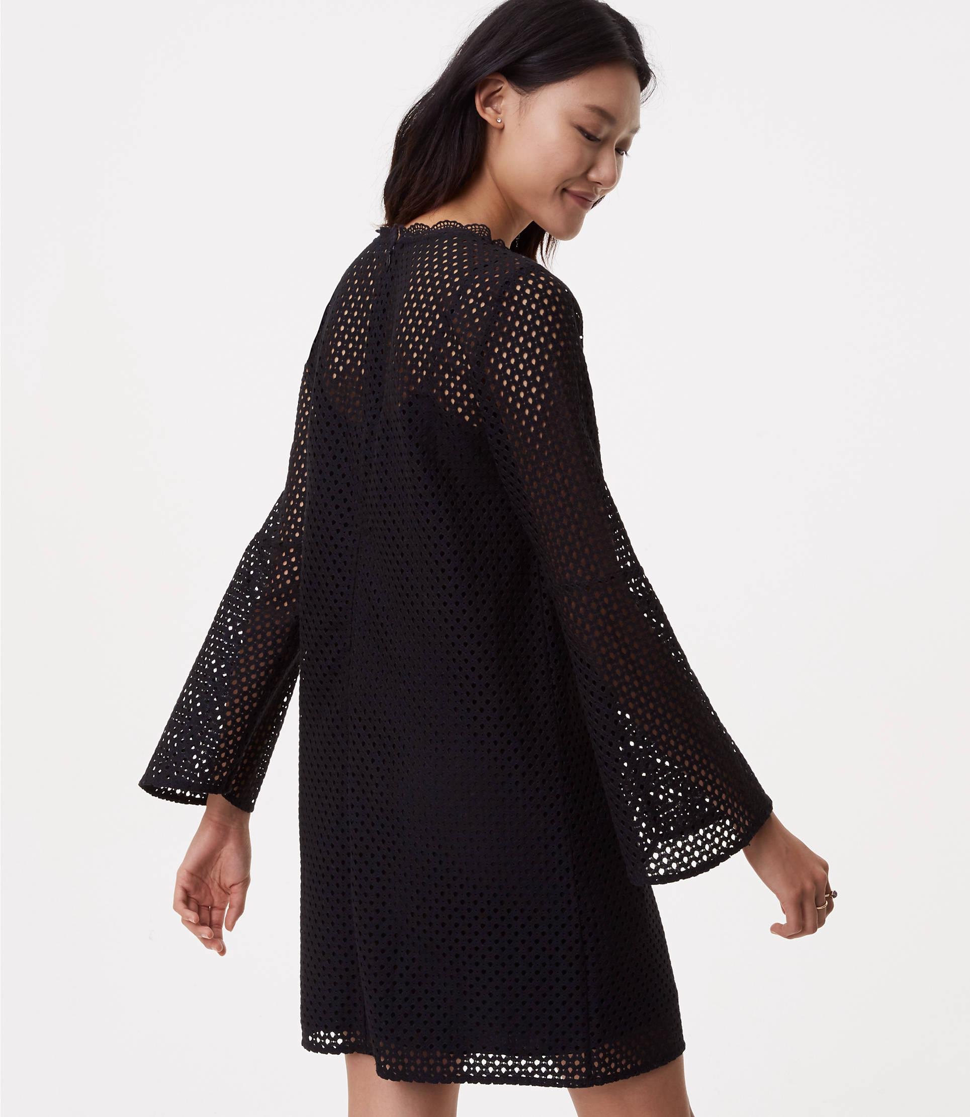 285b30f17d9e LOFT Petite Lace Mesh Bell Sleeve Dress in Black - Lyst