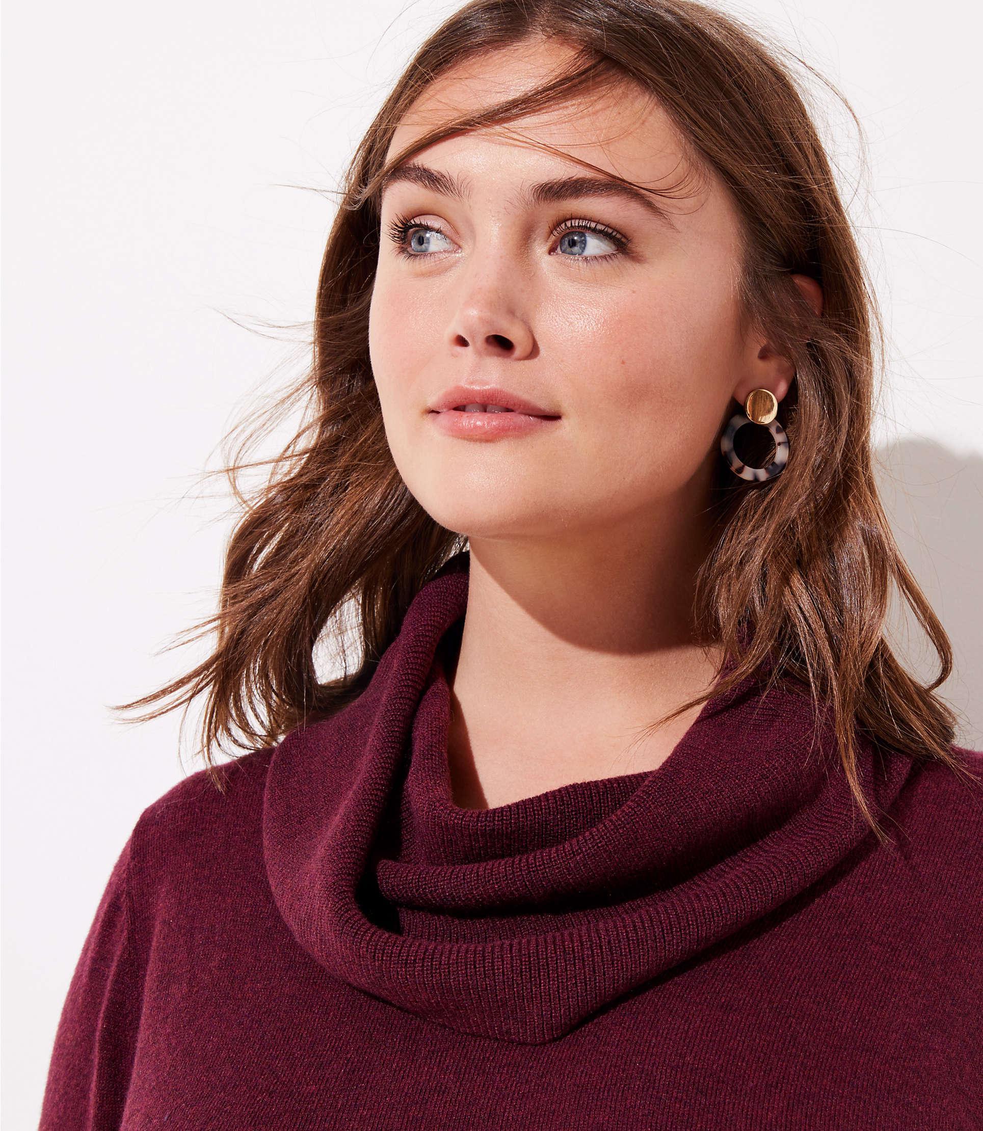 bcf29849280 LOFT - Multicolor Plus Cowl Neck Tunic Sweater - Lyst. View fullscreen