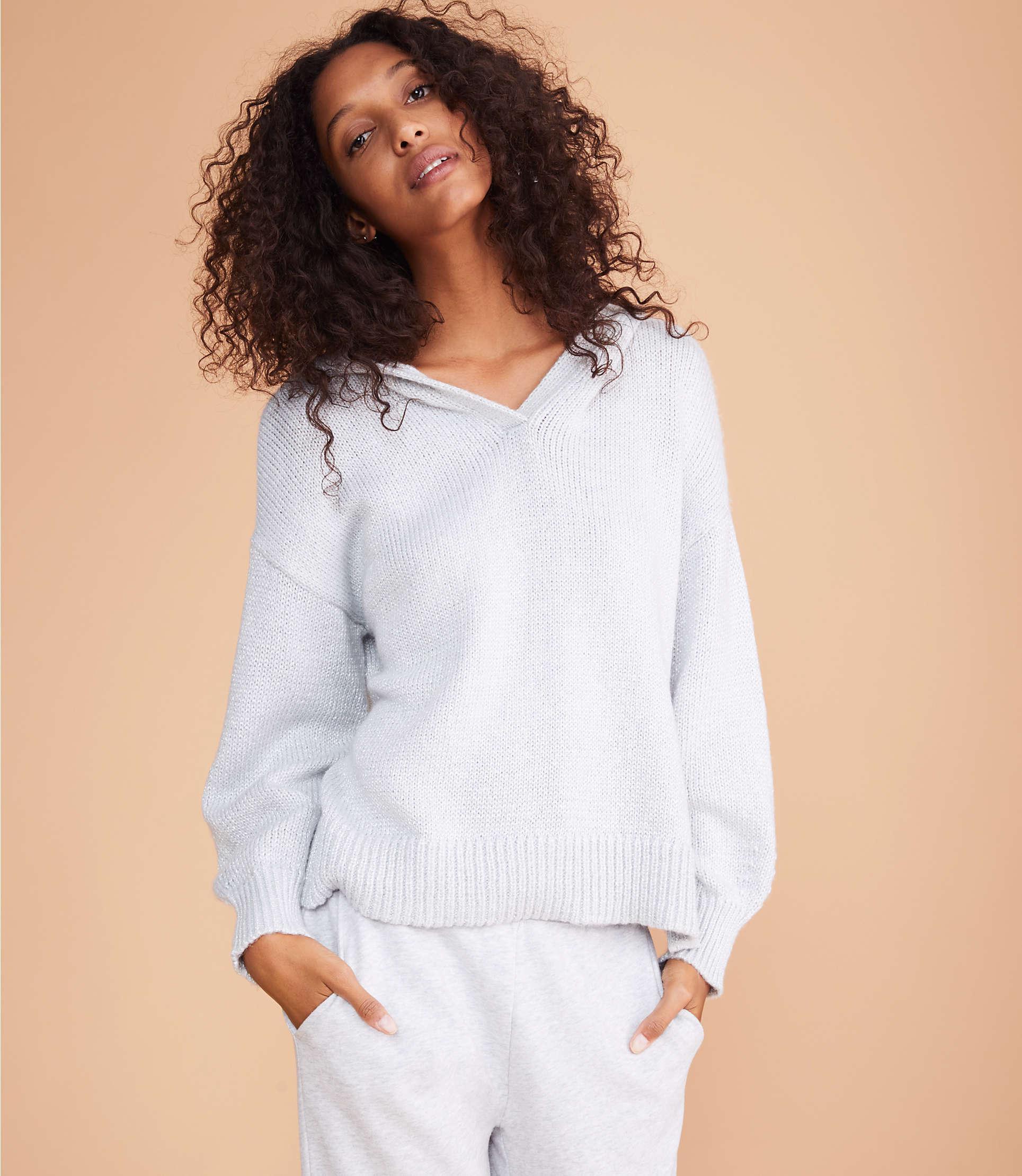 ede0ec45fcb136 Lyst - LOFT Lou   Grey Shimmer Hoodie Sweater in Gray