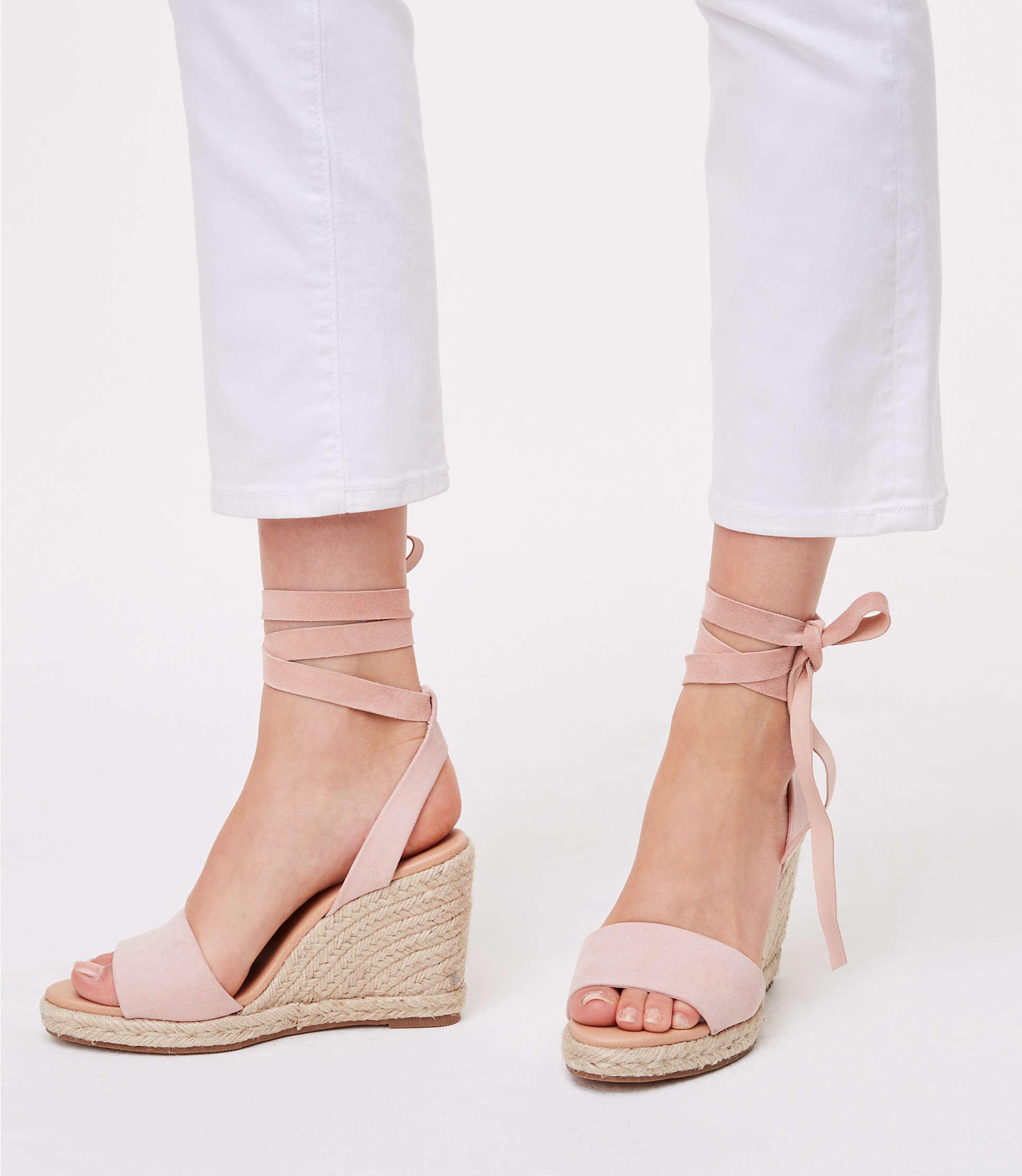 f2b0b27fb28c Loft Ankle Tie Wedge Espadrilles In Pink Lyst