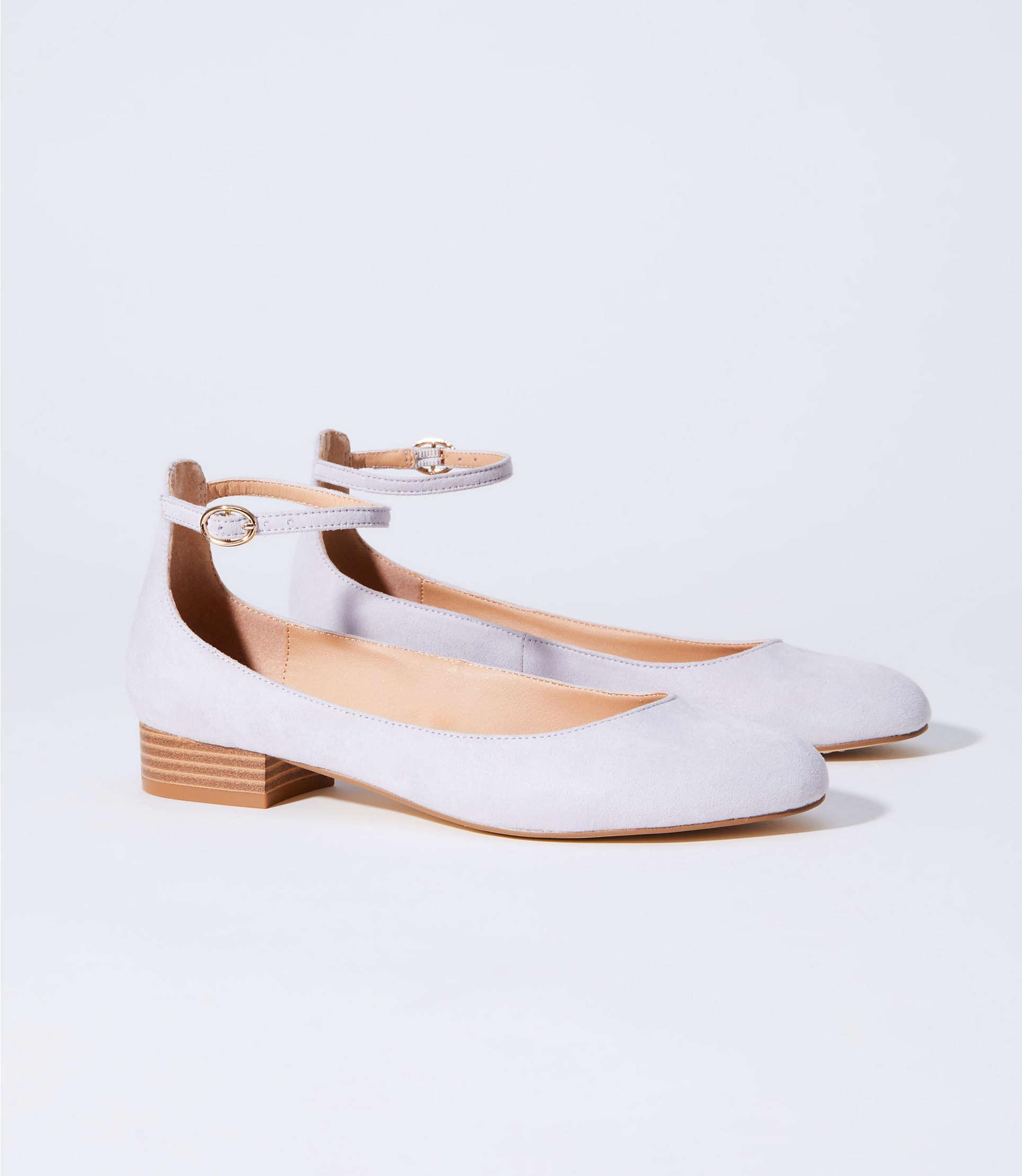 7ac82dfaf Loft Ankle Strap Block Heel Flats - Lyst