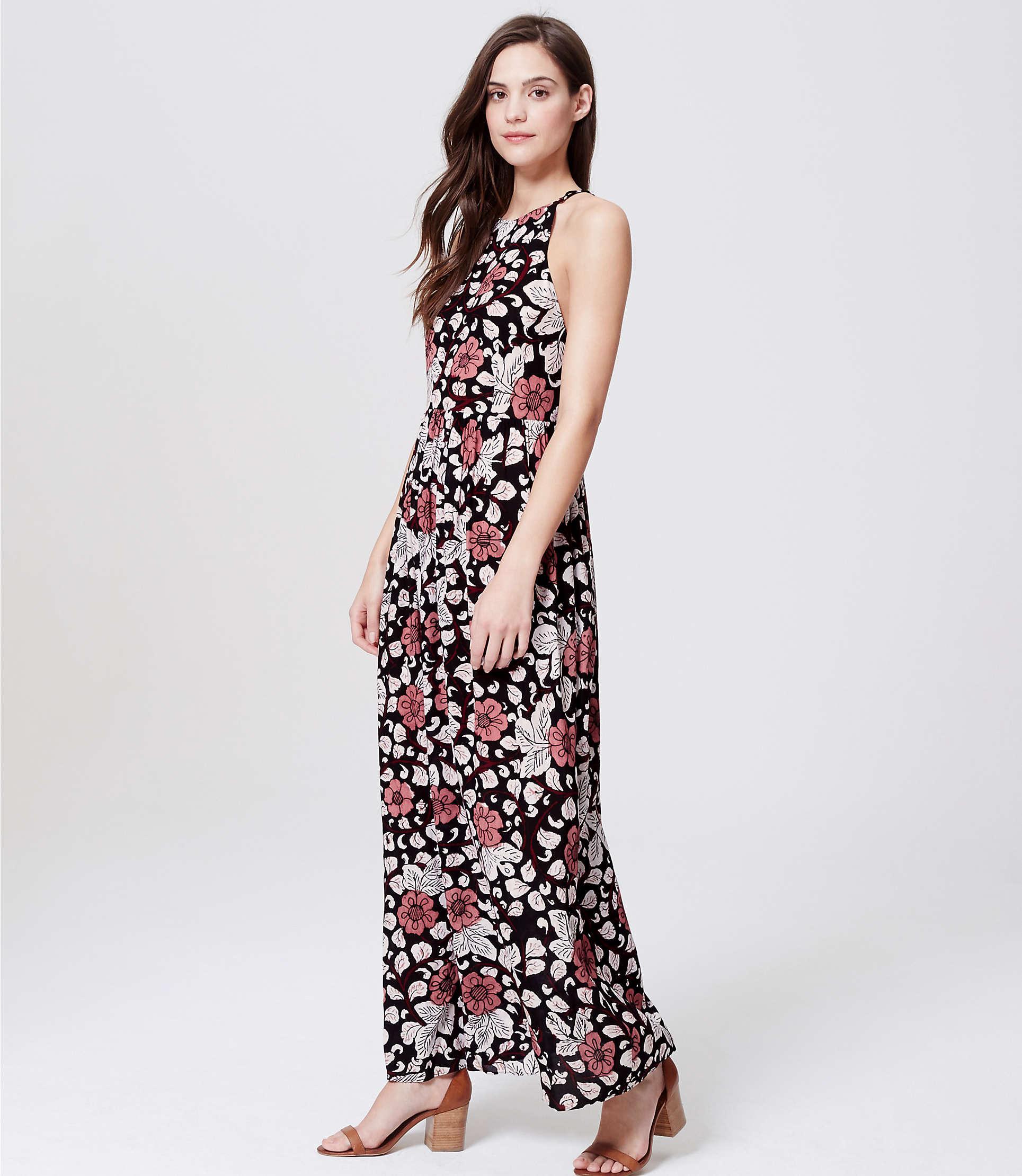 96fa1905606 LOFT Petite Beach Rainforest Floral Strappy Maxi Dress in Black - Lyst
