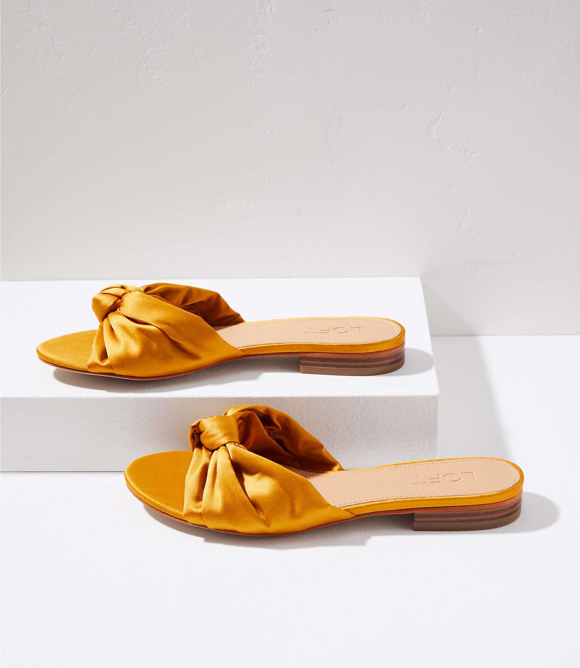 666ac410dc76cf Lyst - LOFT Satin Knot Slide Sandals