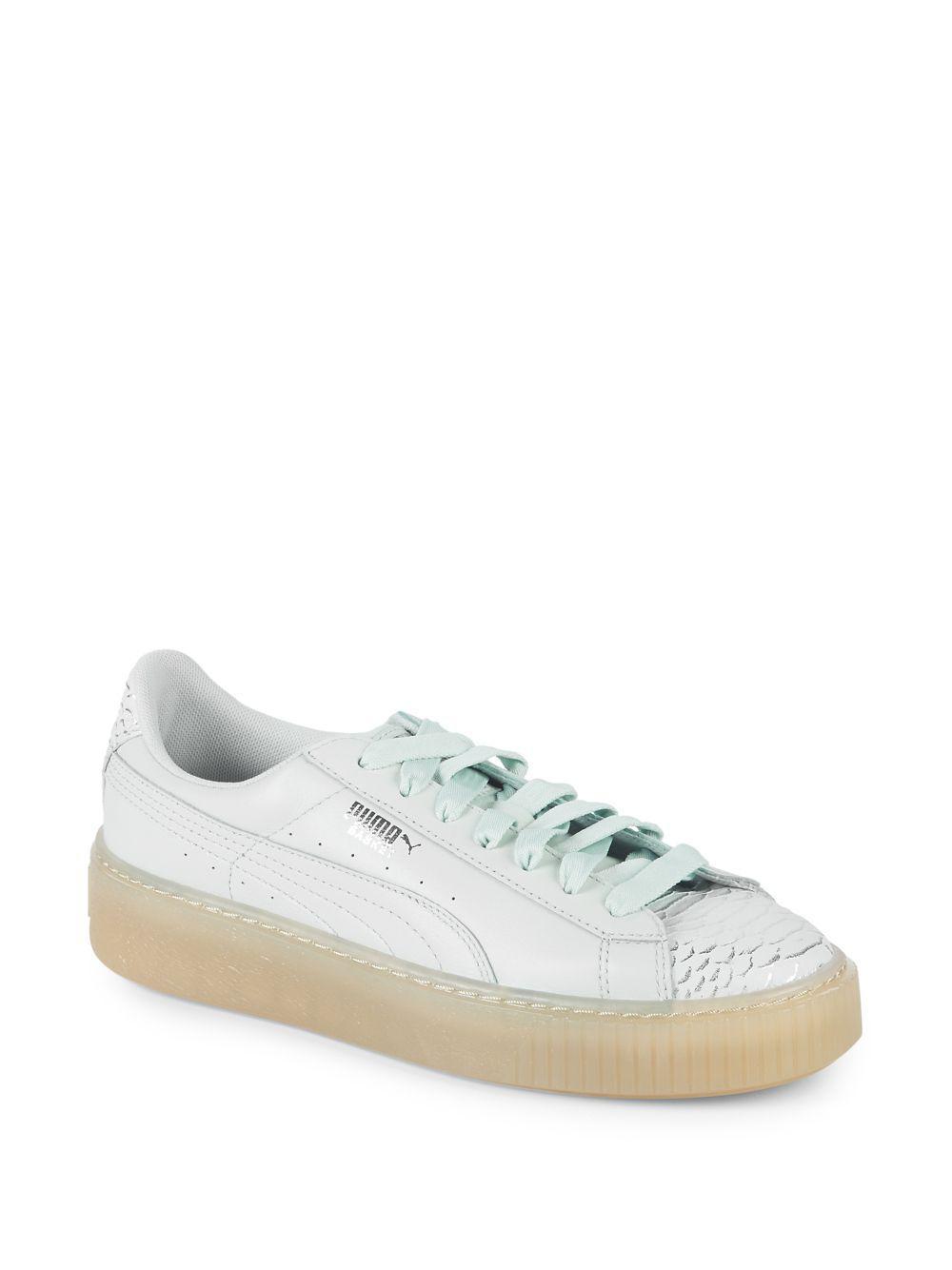 918537d89e0 Lyst - Puma Basket Platform Leather Sneakers in Blue