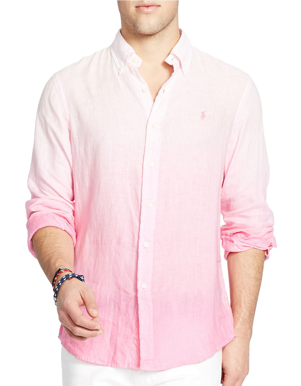 Polo ralph lauren Ombre Linen Sportshirt in Pink for Men | Lyst