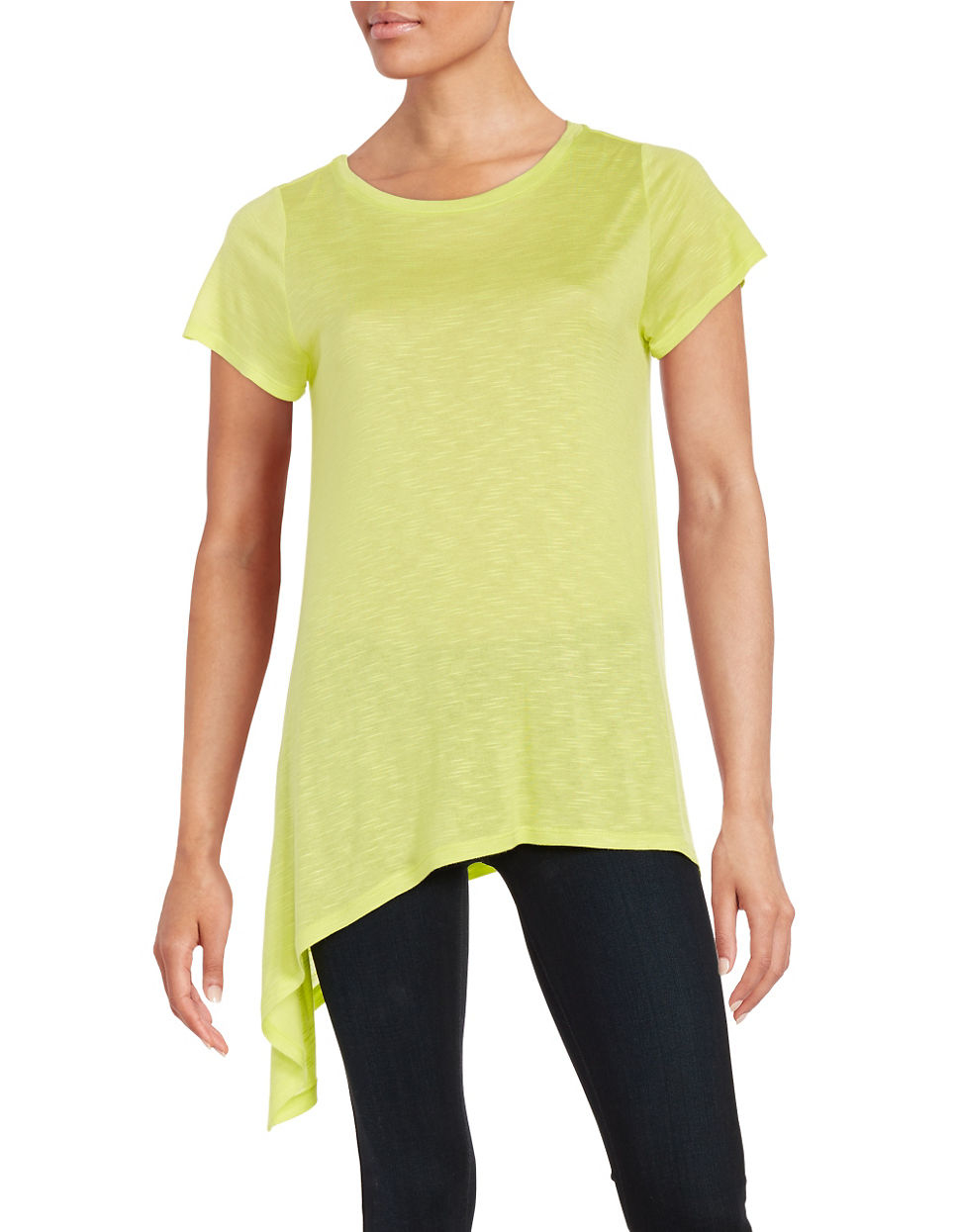 Two by vince camuto asymmetrical slub tee in green lyst for Vince tee shirts sale