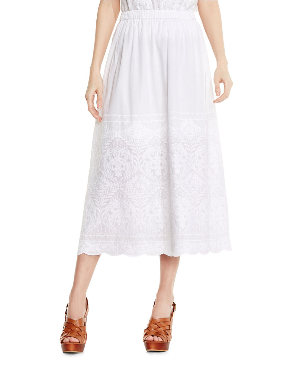 two by vince camuto embroidered maxi skirt in white lyst