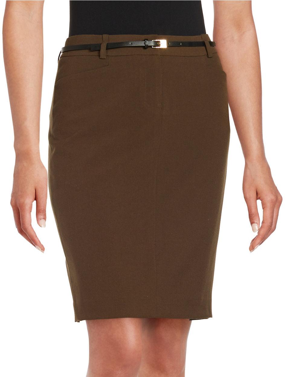 calvin klein belted pencil skirt in brown lyst