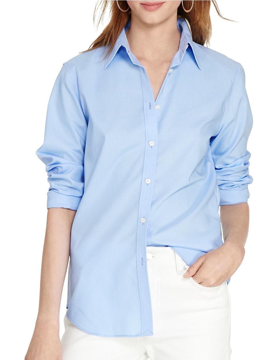 Lauren By Ralph Lauren Cotton Button Down Shirt In Blue Lyst