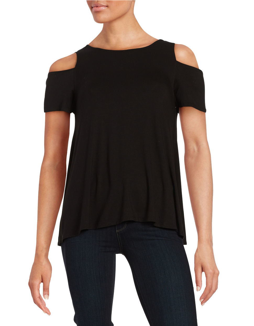 Lord Taylor Asymmetrical Cold Shoulder Top In Black Lyst
