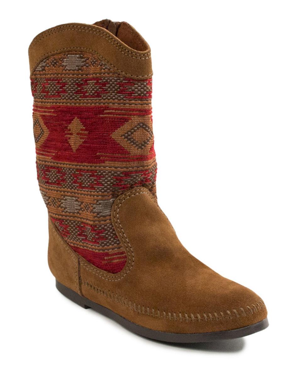 minnetonka baja suede boots in brown lyst