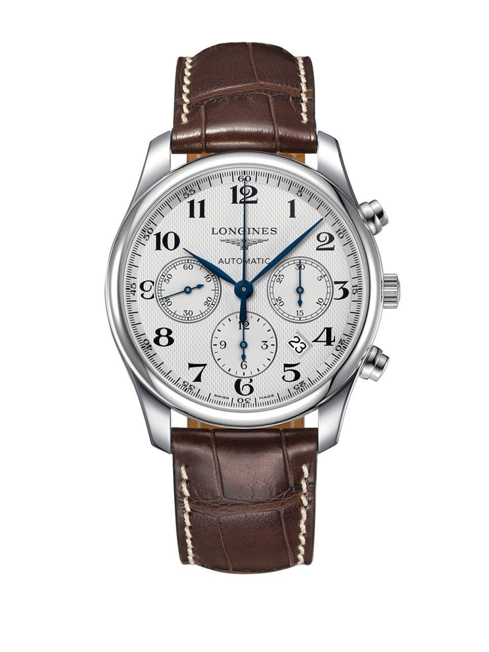 Longines master stainless steel and textured leather strap watch l27594783 in brown for men lyst for Longines leather strap