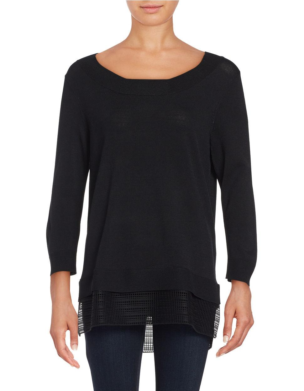 calvin klein mesh accented sweater in black lyst. Black Bedroom Furniture Sets. Home Design Ideas