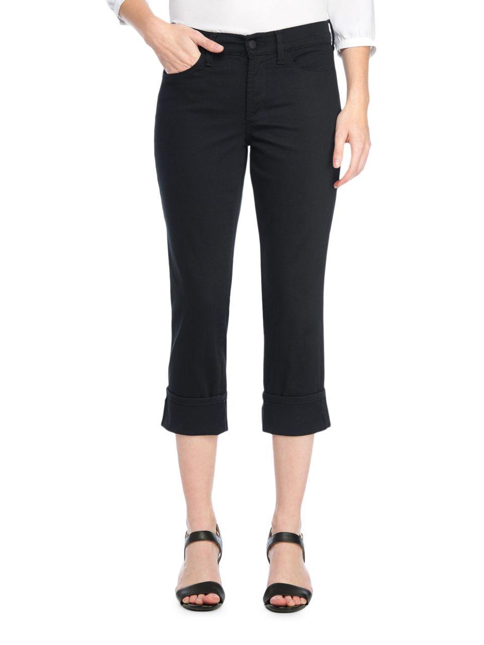 Nydj Dayla Wide Cuff Capri Pants In Black Lyst