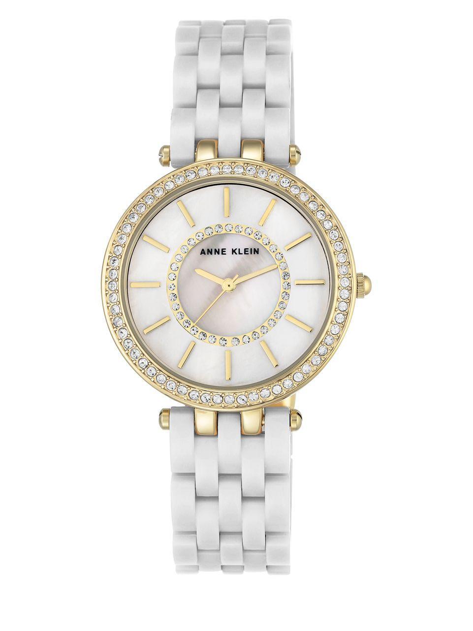 Anne klein swarovski crystal embellished round watch in white lyst for Anne klein swarovski crystals