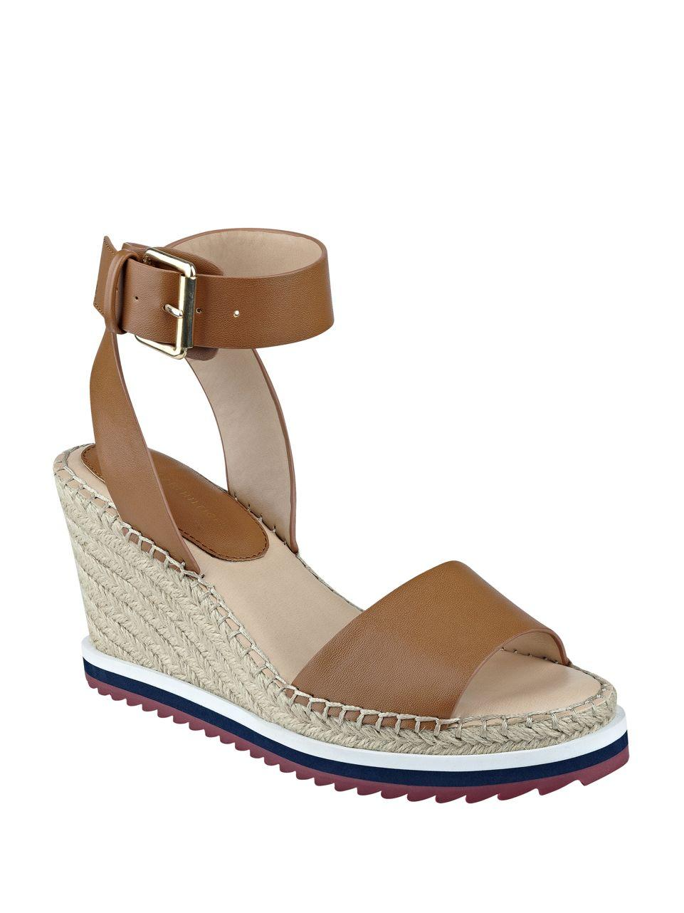 tommy hilfiger yaslin wedge espadrilles in brown lyst. Black Bedroom Furniture Sets. Home Design Ideas