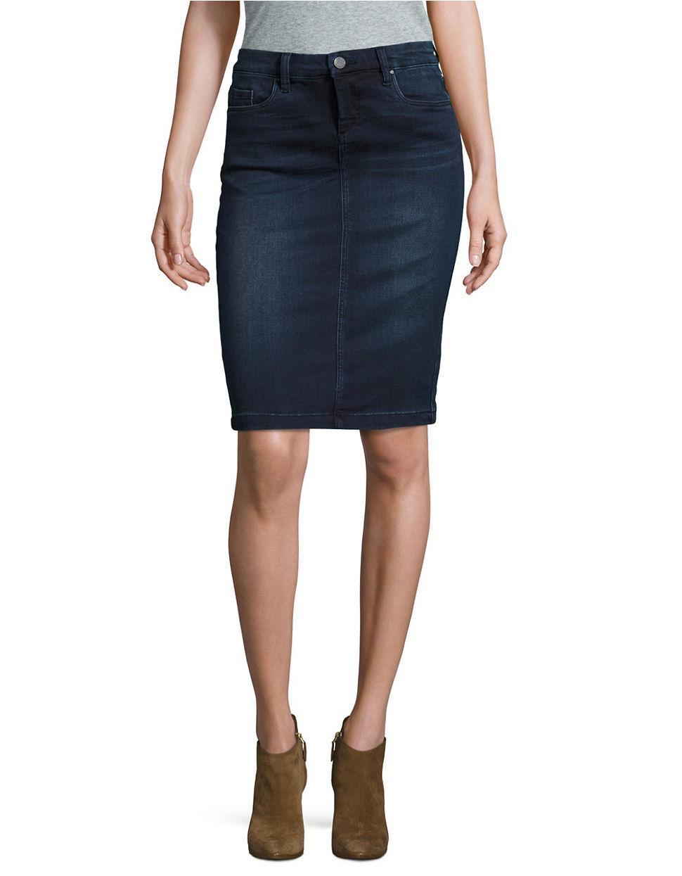 blank nyc swing away denim pencil skirt in blue lyst