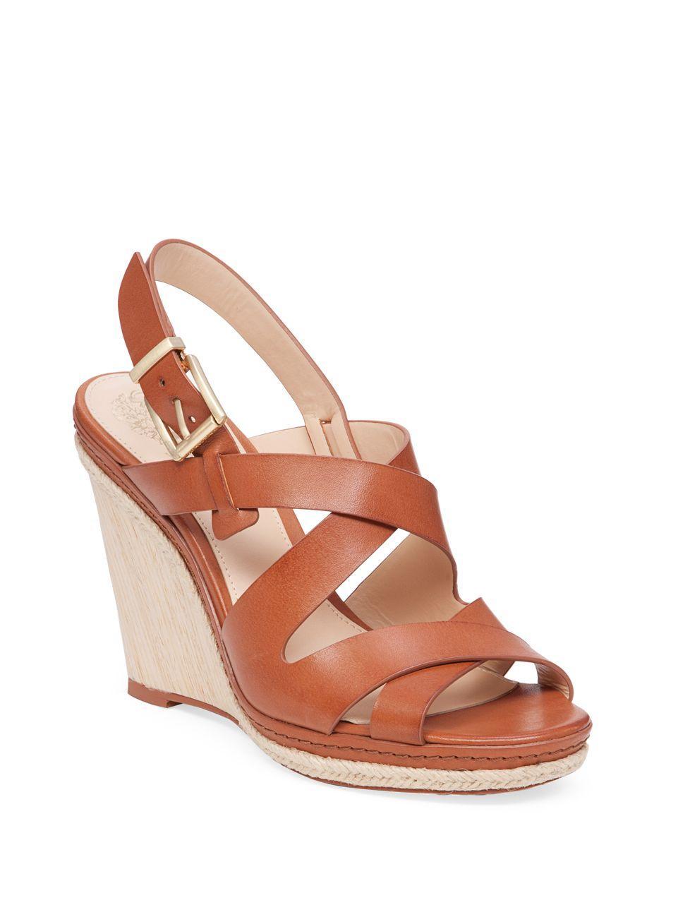 vince camuto maben leather platform wedge sandals in brown