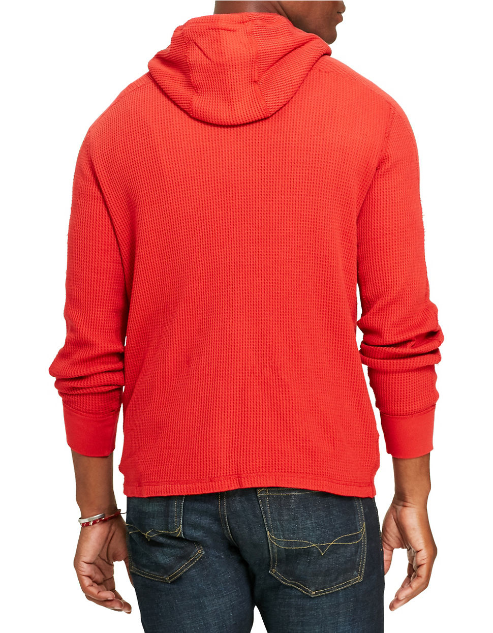 polo ralph lauren waffle knit cotton hoodie in red for men. Black Bedroom Furniture Sets. Home Design Ideas