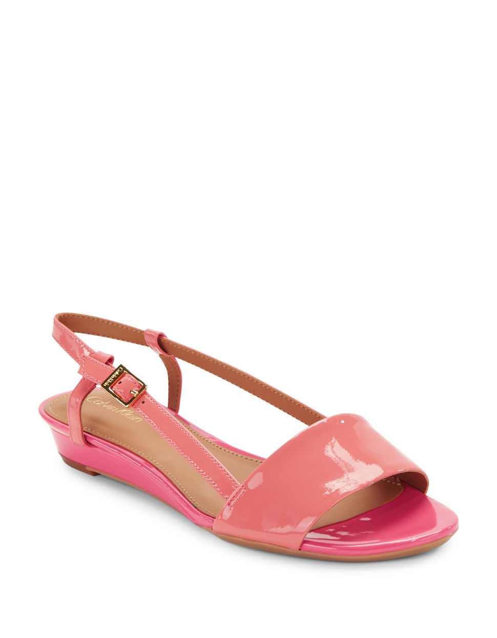 Lyst Calvin Klein Prima Patent Leather Slingback Sandals