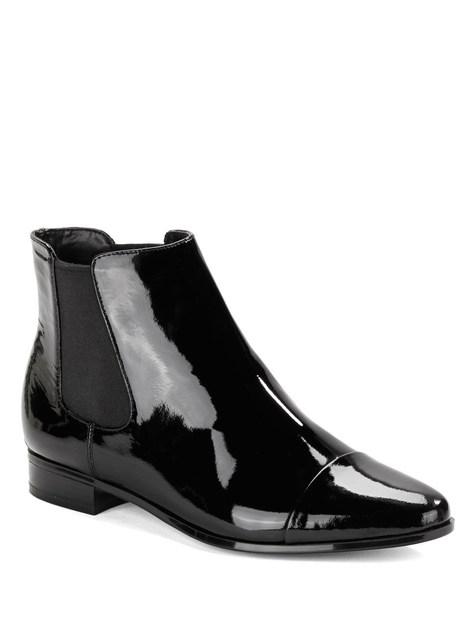 Lyst Calvin Klein Finilla Faux Patent Leather Booties In