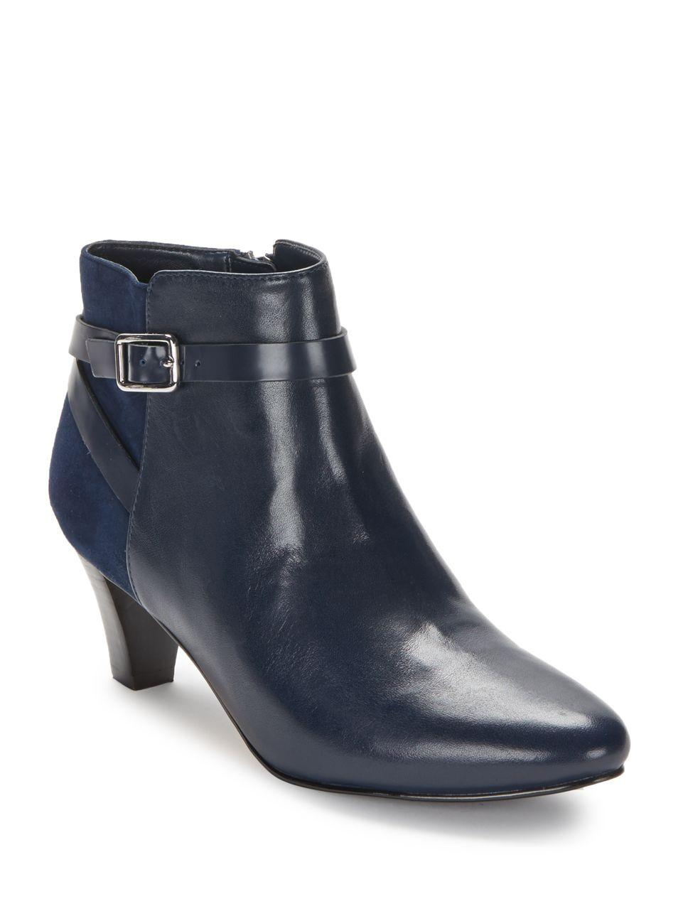 cole haan sylvan leather and suede ankle boots in blue lyst