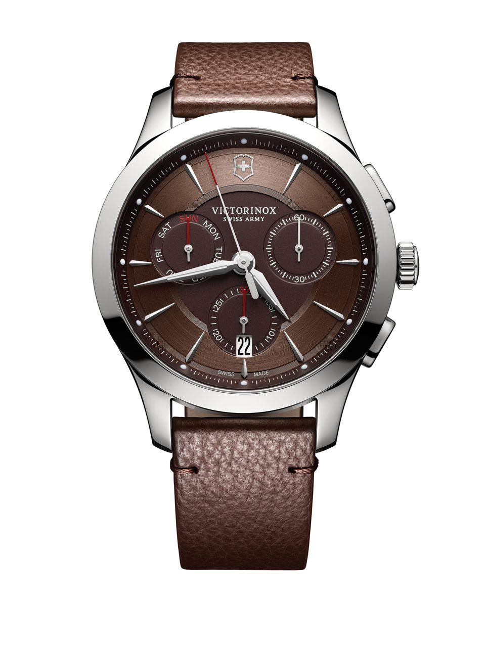 Lyst victorinox stainless steel leather chronograph in
