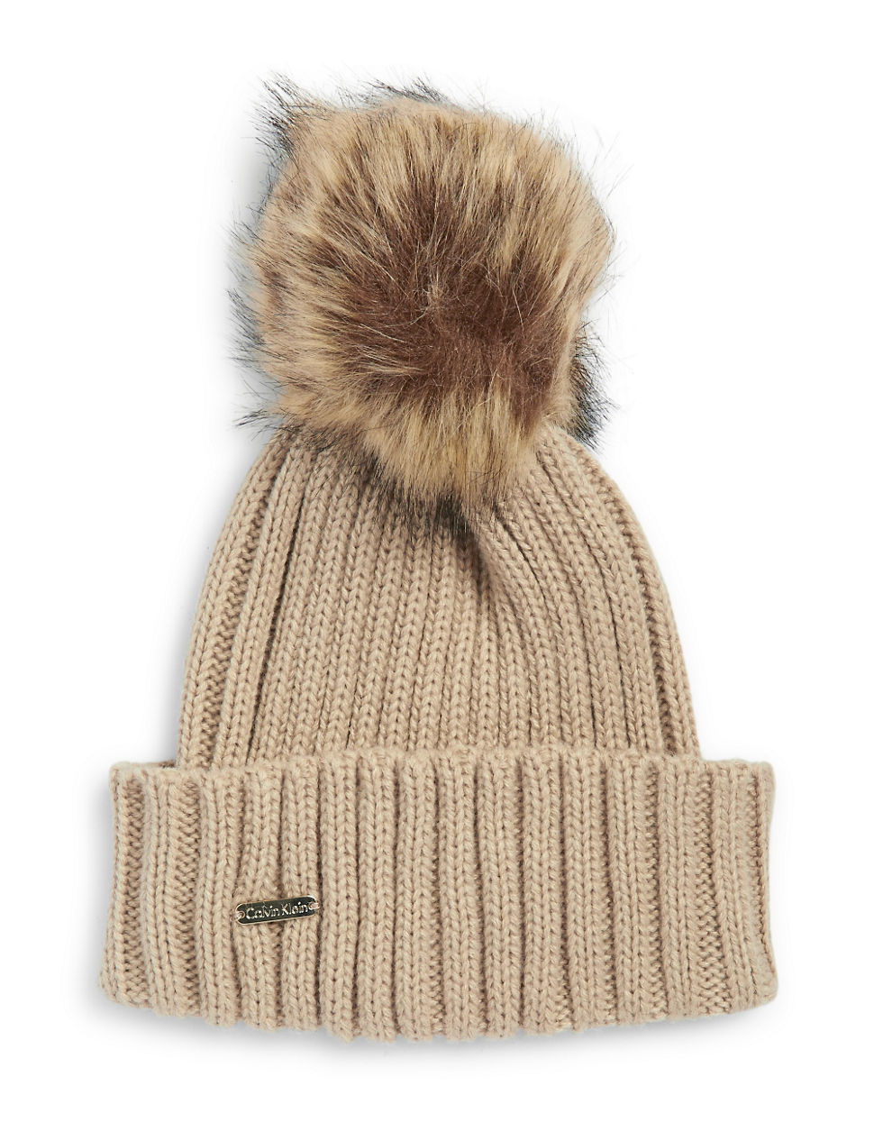 Calvin Klein Faux Fur Pom Pom Ribbed Knit Hat In Brown Lyst