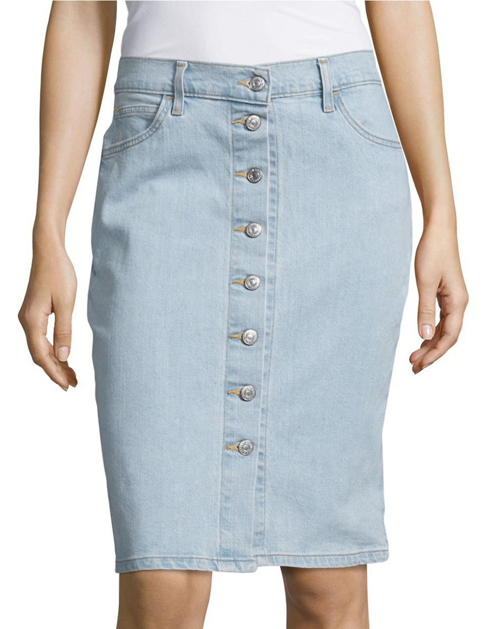 levi s button denim skirt in blue lyst